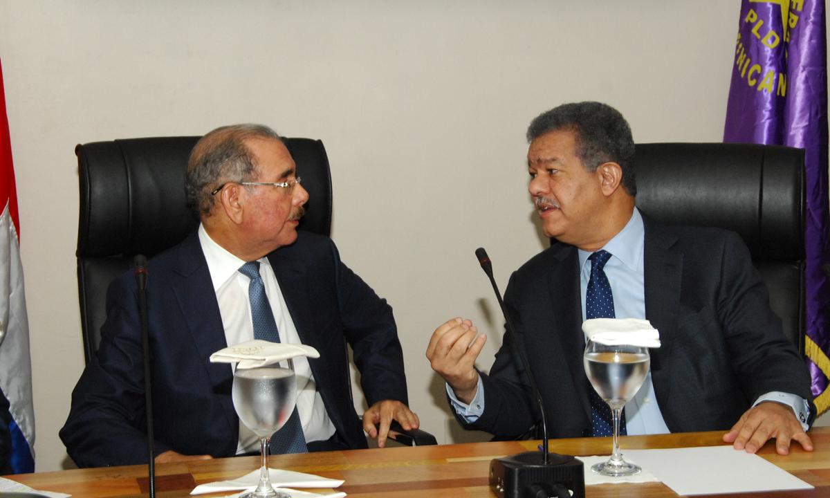 Danilo Medina y Leonel Fernández en reunión del Comité Político en Casa Nacional del PLD.