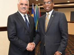 Miguel Vargas y el canciller haitiano Antonio Rodrigue.