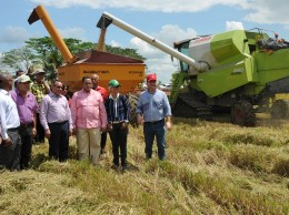 El ministro de Agricultura, Ángel Estévez, y productores de arroz dejan iniciada la cosecha de primavera.