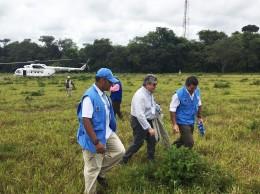 Los embajadores del Consejo de Seguridad de la ONU y el jefe de la Misión de Naciones Unidas en Colombia visitan una zona veredal en Colombia.