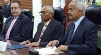 Osmar Benítez habla sobre el caso de Haití durante firma de acuerdo entre JAD y DGII.