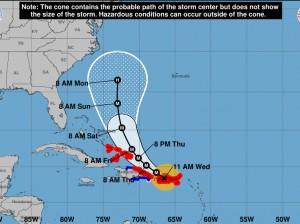 trayectoria del huracán Marìa.