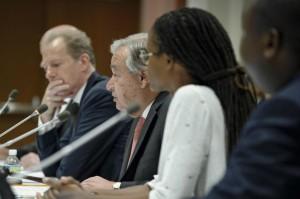 Secretario General de la ONU, António Guterres durante el evento del Día Internacional contra la Pena de Muerte.