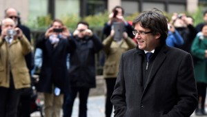 Carles Puigdemont arrives for a news conference in Brussels