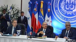 José Luis Rodríguez Zapatero, Danilo Medina y Miguel Vargas.