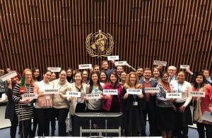 Participantes de encuentro de OMS en Ginebra.